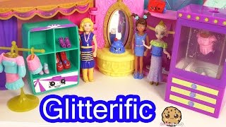 getlinkyoutube.com-Polly Pocket Glitterific Style Fashion Boutique Dress Up with Friends Disney Frozen Queen Elsa Doll