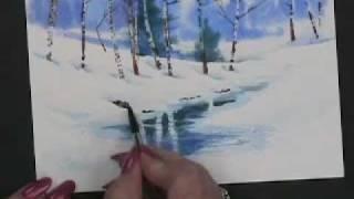 getlinkyoutube.com-Painting Watercolor Winter Landscape Cards