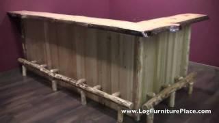 getlinkyoutube.com-Log Bar | Cedar Lake Log Bar | Custom Log Cabin Bar at LogFurniturePlace.com