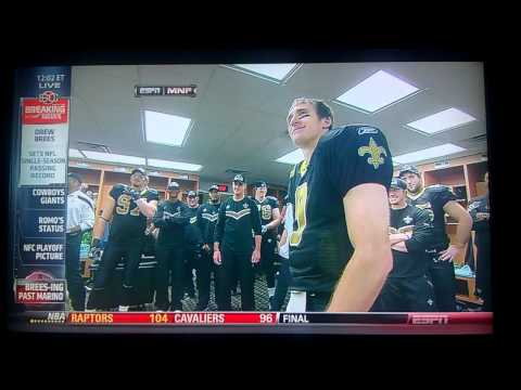Drew Brees: Single Season Passing Yards Record (Post-Game Speech)
