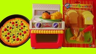 getlinkyoutube.com-Toy Velcro Cutting Food PlayDoh Oven Cooking Baking Pizza Bread Criossant Toy Set Unboxing