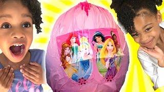 getlinkyoutube.com-Disney PRINCESS Ariel Frozen Elsa Giant Egg Surprise Opening SURPRISE TOYS Cinderella Toy Naiah