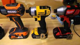 getlinkyoutube.com-Dewalt vs Ridgid vs Milwaukee vs Makita Best Impact Driver Kit