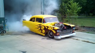 getlinkyoutube.com-1955 Chevy Blown 540 C.I. Drag Car Burnout!!!