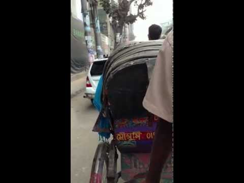 First experience on a rickshaw in Dhaka with Logan – Video 2