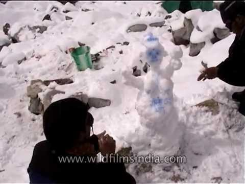 Making a snow-woman at Everest Base Camp