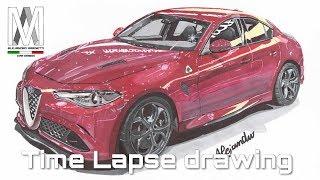 Alfa Romeo Giulia Quadrifoglio-Time Lapse drawing