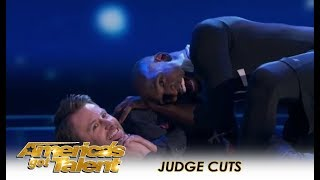 Troy James: The Flexible Spider-Man Gets CREEPY With Chris Hardwick | America's Got Talent 2018
