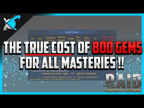 "RAID: Shadow Legends | The ""TRUE COST"" of 800 Gems for all Masteries!! 