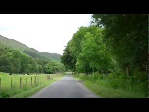 A Drive On A Narrow Road In Glenlyon Scottish Highlands Of Scotland