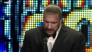Triple H inducts his best friend Shawn Michaels into the width=