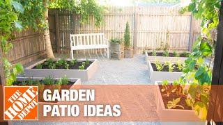 A lush garden patio.