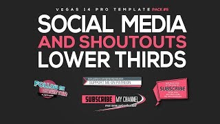 Free Vegas 14 pro Template - SOCIAL MEDIA and SHOUTOUTS lower thirds PACK#5