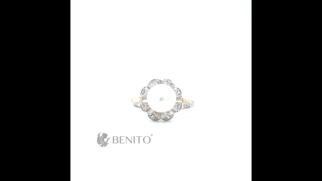 Germana Ring White Pearl and Zircon Stones