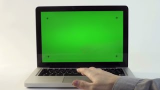 Laptop with a Green Screen | Stock Footage