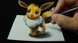 Drawing a 3D EEVEE, Pokémon GO, Trick Art