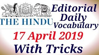 Daily The Hindu Vocabulary with Tricks|17/4/2019|Special Education