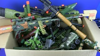 Big Box of Military Toys -Box Full of Guns Toys ! Military Gun,Trucks, Launch Rocket,Tanks Toy
