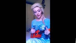 Real life Elsa sings on Ukulele
