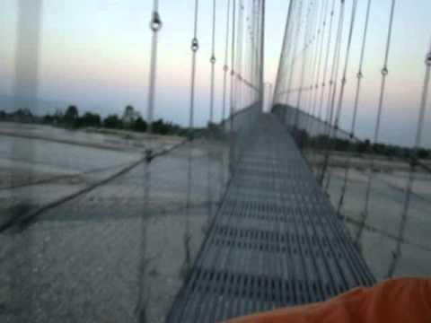 Chandani Dodhara suspension bridge at Mahakali River in Nepal.MPG