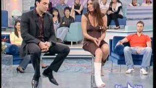 With leg cast in a tv program