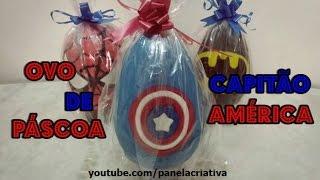 Ovo de Páscoa Capitão América/ovo decorado com pasta americana.