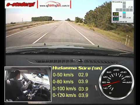 Chevrole Cruze 2.0 Dizel Otomatik (Diesel Automatic) test (0-100 km/s, 100-0 km/s)