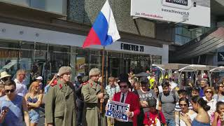 Russian military guard Trump's star on Hollywood Blvd