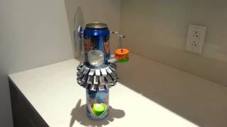 Soda can Stirling engine (gamma) works from a tea candle