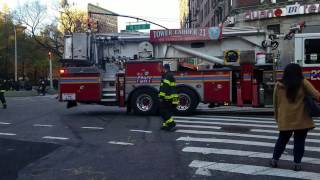 "FDNY Ladder 23 ""Vinegar Hill"" Leaving A Fire In West Harlem, Manhattan, New York"