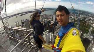 Zipline jump off Auckland Sky Tower