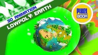 Green Screen Cartoon Lowpoly Earth Planet 3D Animation - PixelBoom