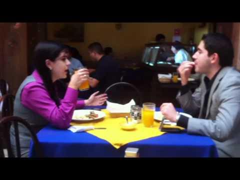 Claudia and Carlos Turriate having a Late Lunch in Cuenca Ecuador.