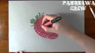 Amazing 3D Drawing Art With Pencil - Strawberry Like Real