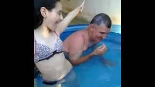 1 vídeo desafio da piscina  com meu pai