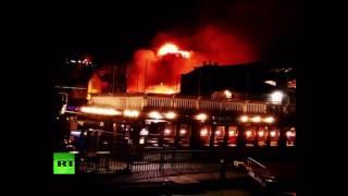 Firefighters tackle large blaze in London's Camden Lock Market