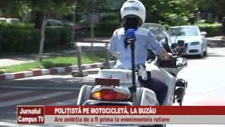 POLITISTA PE MOTOCICLETA, LA BUZAU