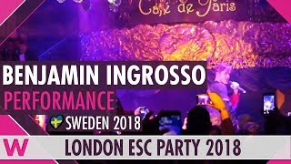 """Benjamin Ingrosso """"Dance You Off"""" (Sweden 2018) LIVE @ London Eurovision Party 2018"""