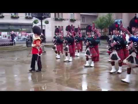 Pipes and Drums 1st Battalion Scots Guards Marching City Square Dundee Scotland