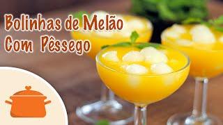 Bolinhas de Melão com Creme de Pêssego