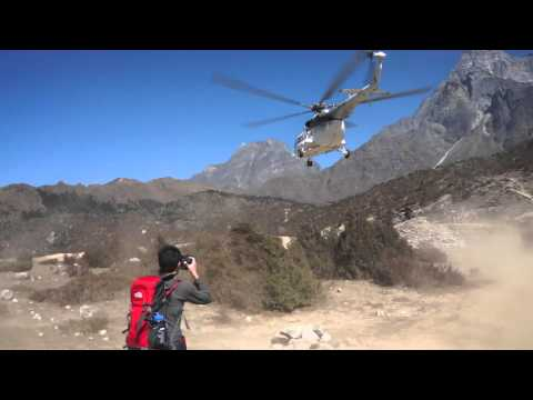Helicopter fly over at Syangboche, Nepal 3750m