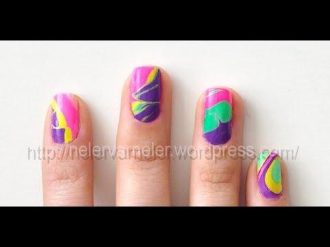 "Ebru Desenli Oje Teknigi ""Marble Nail Art"""