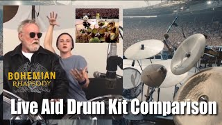Queen Live Aid Bohemian Rhapsody Movie Drum Kit Comparison Roger Taylor Ben Hardy Brian May