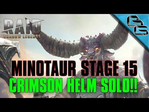 RAID: Shadow Legends | Minotaur Stage 15 on Auto | Crimson Helm Solo!! | F2P