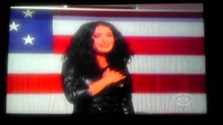 Salma Hayek sings star spangled banner