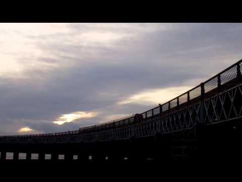 Dusk Passenger Train Tay Railway Bridge Dundee Scotland