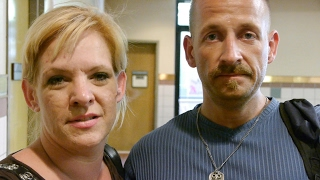 Nikki and Scott are homeless on Skid Row. Their feet are blistered from walking.