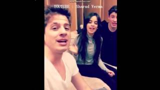"Charlie Puth , Shawn Mendes and Camila Cabello singing ""Sorry"" by Justin Bieber. #BieberWeek"