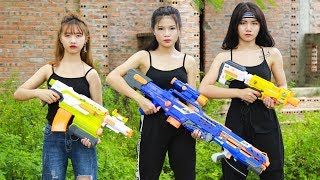 XGirl Nerf War: Three sisters Nerf Guns Criminal Group Beauty Wars