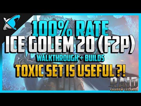 RAID: Shadow Legends | 100% WIN RATE ICE GOLEM 20 | Walkthrough + Builds | F2P
